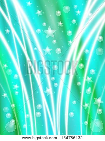Festive Teal Celebration Background with Stars Bubbles and Light Beams
