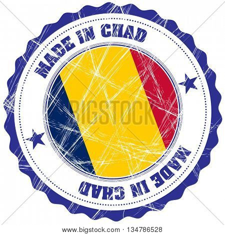 Made in Chad grunge rubber stamp with flag