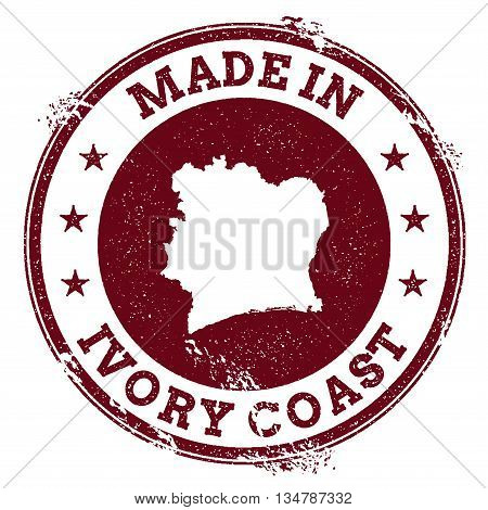 Cote D'ivoire Vector Seal. Vintage Country Map Stamp. Grunge Rubber Stamp With Made In Cote D'ivoire