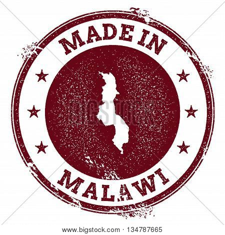 Malawi Vector Seal. Vintage Country Map Stamp. Grunge Rubber Stamp With Made In Malawi Text And Map,