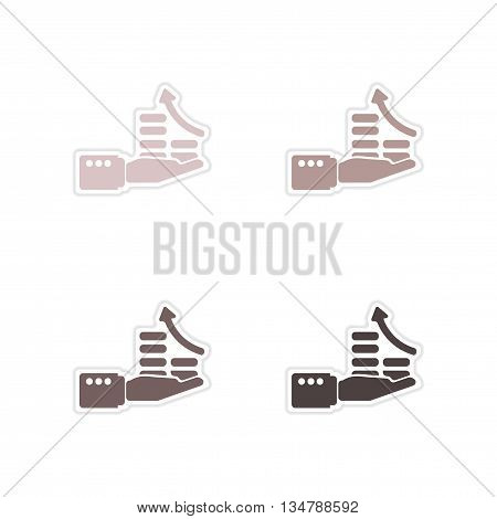 Set of paper stickers on white  background economic graph hand