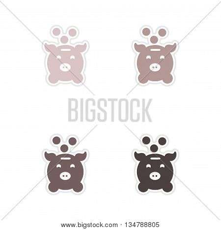 Set of paper stickers on white  background money box