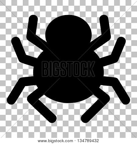 Spider sign illustration. Flat style black icon on transparent background.