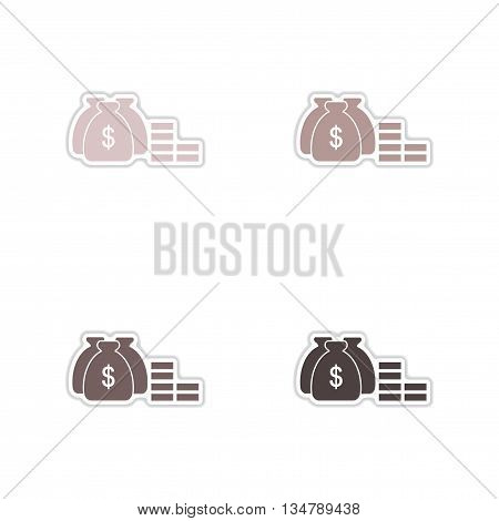 Set of paper stickers on white  background money bags