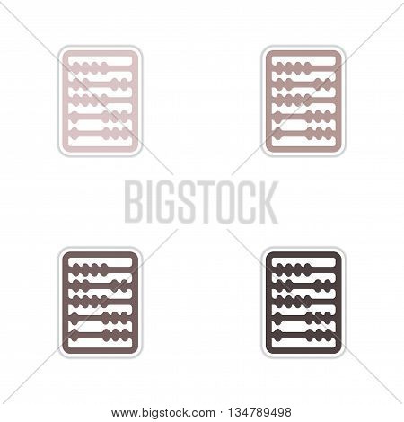 Set of paper stickers on white  background abacus