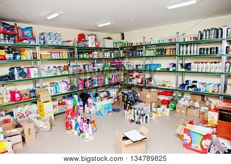 Berezovitsa, Ukraine - Circa June, 2016: Store Shelves With Different Household Cleaning