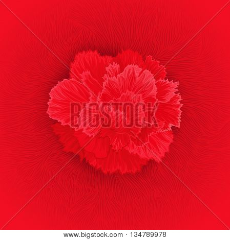 Juicy burgeon blossom of carnation. Author's texture from flower petals fibers. Vector design element