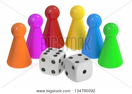 Board Game Pieces and Dices 3D rendering isolated on white background