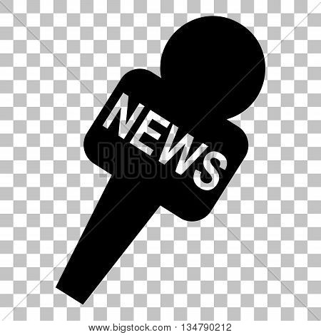 TV news microphone sign illustration. Flat style black icon on transparent background.