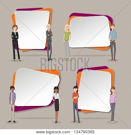 Vector banners / backgrounds with cartoon young people. Design text box frames.