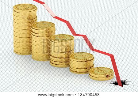 Falling bar chart with golden coins 3D rendering