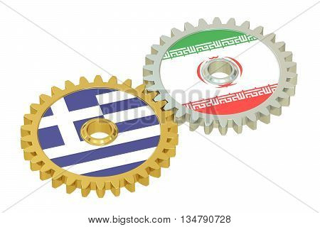 Iran and Greece flags on a gears 3D rendering isolated on white background