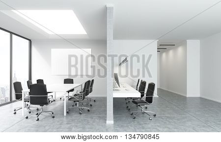 Concrete conference room interior with blank whiteboard and New York city view. Mock up 3D Rendering