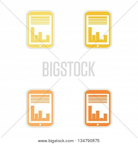 Set of paper stickers on white  background economic presentation