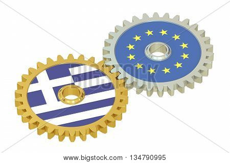 EU and Greece flags on a gears 3D rendering isolated on white background