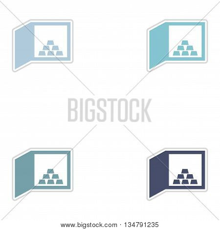 Set of paper stickers on white  background gold bullion in safe
