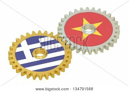 Vietnam and Greece flags on a gears 3D rendering isolated on white background