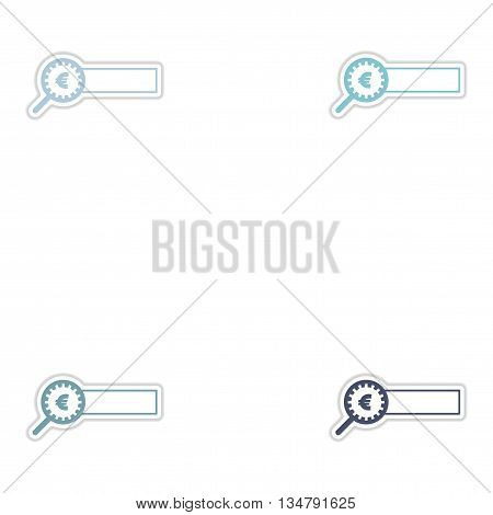 Set of paper stickers on white  background money search
