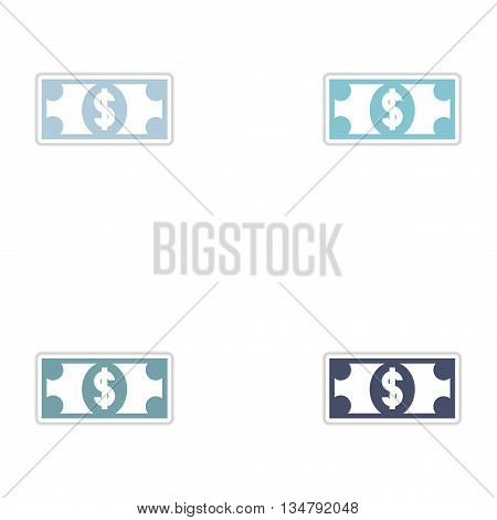 Set of paper stickers on white  background dollar