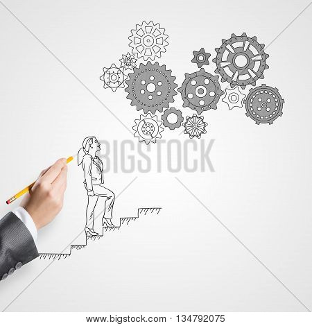 Close up of female hand drawing businesswoman walking up ladder on white