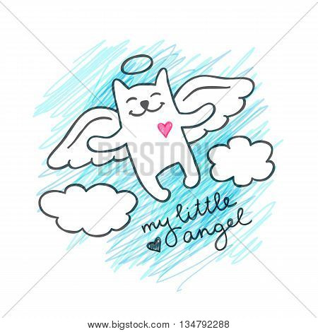 vector cat angel in the sky, cute hand drawn illustration