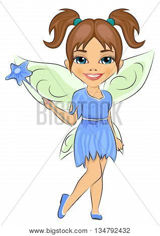 Beautiful cute girl dressed in fairy cosume isolated on white background