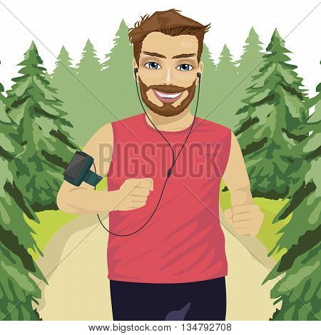 Runner man jogging in the park with smartphone armband listening to music playlist on mobile phone app and earphones for workout