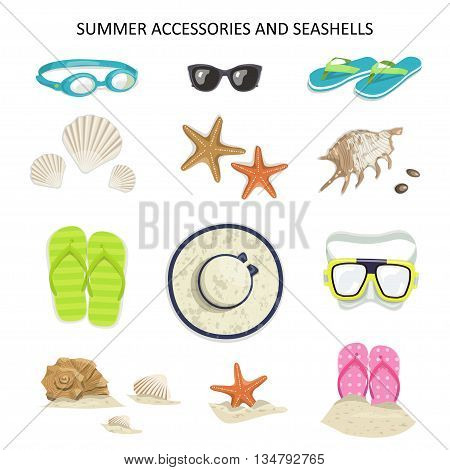 Set summer accessories and seashells on a white background. Vector icons glasses, diving mask, flip-flops, shells, starfish, hat