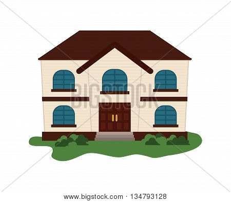 Colorfull family House with door, windows  and roof over white background
