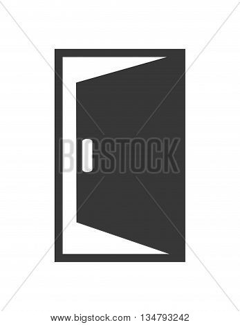 traditional open Door silhouette with frame figure design over isolated and flat illustration