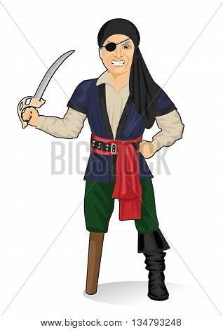 Old pirate captain with eye patch and bandana holding a sword isolated over white background