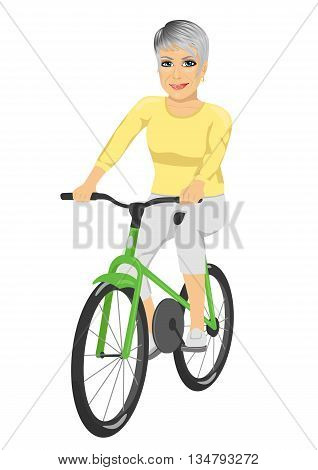 Happy senior woman riding bicycle isolated over white background