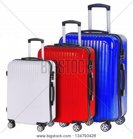 Three suitcases red white and blue isolated on white background