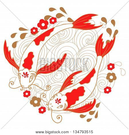 Cute illustration of a koi carp, a symbol of luck, success and wealth.