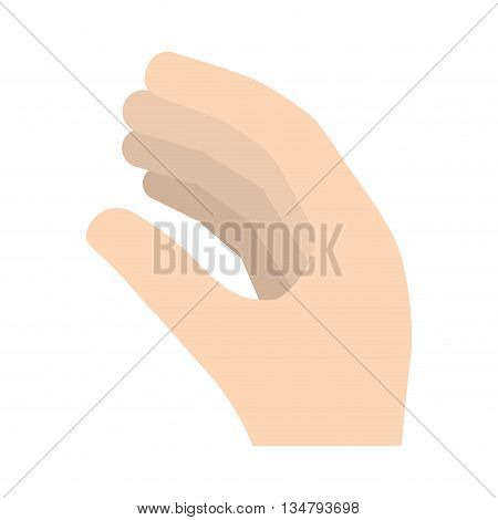 Symbol representated by human hand with posture design over isolated and flat illustration