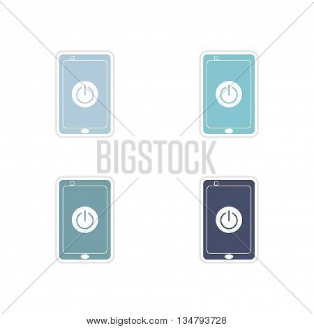 Set paper stickers on white  background Turn off mobile phone