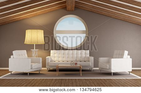 Modern Living Room In An Attic