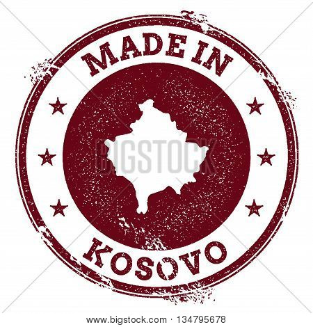 Kosovo Vector Seal. Vintage Country Map Stamp. Grunge Rubber Stamp With Made In Kosovo Text And Map,