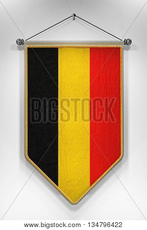 Pennant with Belgian flag. 3D illustration with highly detailed texture.