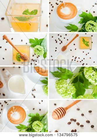 Lush collage of coffee, milk and honey
