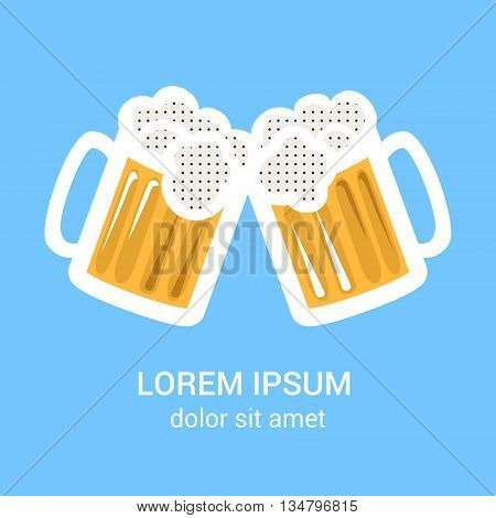 Two beer glasses mug for web, poster, invitation to beer party. Isolated on blue background. Vector illustration.