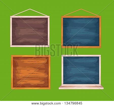 Set of wooden desks for game interface