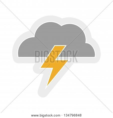 Weather representated by simple cloud and thunder shape design over isolated and flat illustration