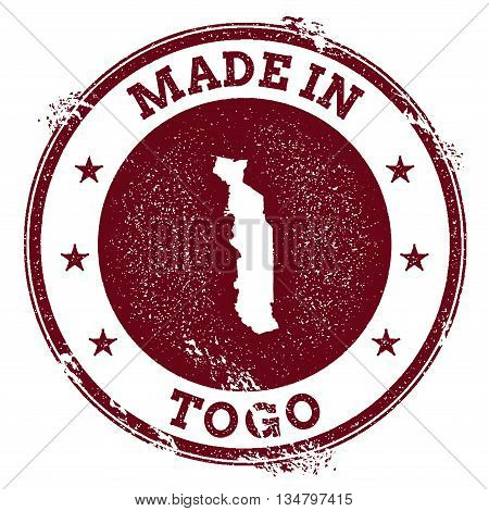 Togo Vector Seal. Vintage Country Map Stamp. Grunge Rubber Stamp With Made In Togo Text And Map, Vec