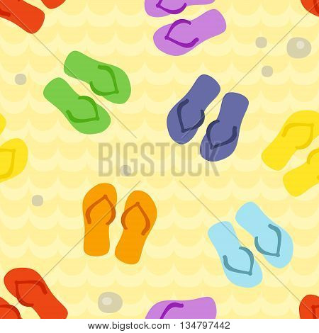 Seamless pattern with rainbow flip flops on a sand. Art vector illustration.
