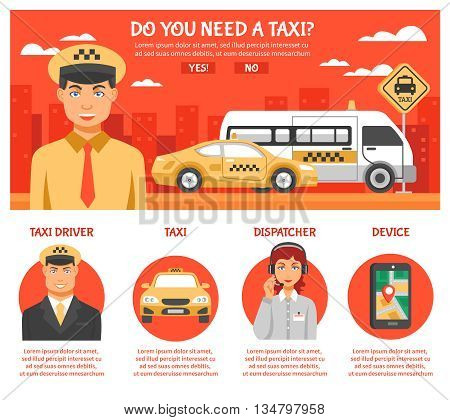 Taxi service infographics with title do you need taxi and a few buttons or links with different titles vector illustration