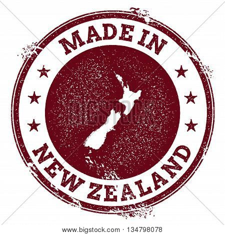New Zealand Vector Seal. Vintage Country Map Stamp. Grunge Rubber Stamp With Made In New Zealand Tex