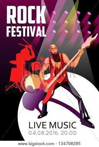 Rock Festival Poster. Rock Festival Vector Illustration. Rock Festival Design. Rock Festival Cartoon Decorative Symbols.