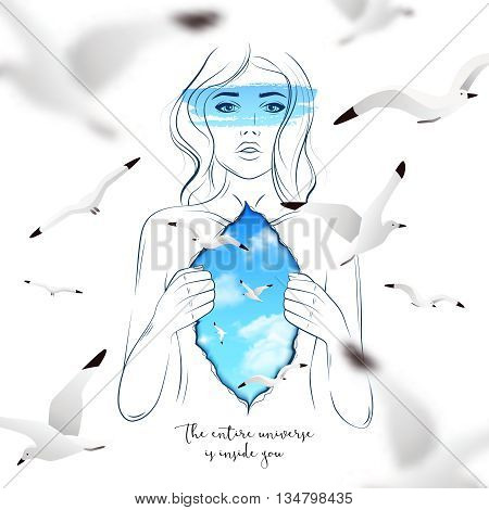 Abstract poster with sketch of beautiful woman opening her inner world shown like sky and gulls vector illustration