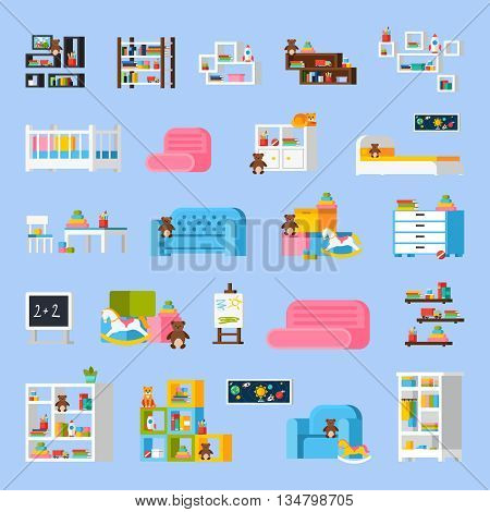 Baby room furniture flat decorative icons with  bed sofa shelves commode cradle toys chalkboard isolated vector illustration